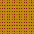 Seamless retro pattern with red circles on a yellow background with grunge