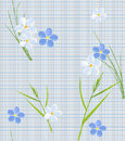 Seamless retro pattern of small flowers and grass blades Royalty Free Stock Photography