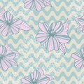 Seamless retro pattern with waves flowers and laces Stock Images