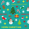 Seamless retro pixel game christmas pattern various icons Stock Images