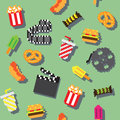 Seamless retro pixel iconic movie pattern Stock Photos