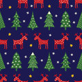 Seamless retro style Christmas pattern - varied Xmas trees, reindeer, stars and snowflakes.