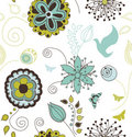 Seamless Retro Style Nature Pattern Royalty Free Stock Photos