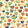 Seamless retro tea cup vector pattern background beige. Distressed vintage look. Hand drawn tea mugs, teapot, spoons, cupcake. For
