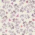 Seamless retro wallpaper with cute birds and ditsy hand painted leaves. Vintage watercolor Royalty Free Stock Photo