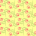 Seamless retro wallpaper simple leaves and berries Stock Photos