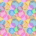 Seamless ring pattern retro background with multicolor vivid rings Royalty Free Stock Photography