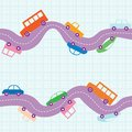 Seamless road background pattern with curvy and cars Stock Images