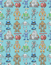 Seamless robot pattern Royalty Free Stock Photography