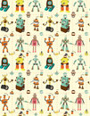 Seamless robot pattern Stock Photos
