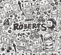 Seamless robot pattern illustrator line tools drawing cartoon vector illustration Stock Photography