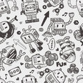 Seamless robot pattern illustrator line tools drawing cartoon vector illustration Royalty Free Stock Photography