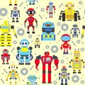 Seamless robots pattern colorful with various kinds of detailed Stock Image