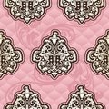 Seamless Rococo floral in pink Stock Photos