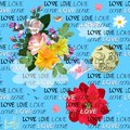 Seamless romantic pattern with bouquet of garden flowers, hearts, letter, moon, little bird, cloud, silhouette of castle Royalty Free Stock Photo