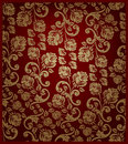 Seamless rose pattern- gold and red Stock Photos
