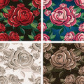 Seamless rose pattern set of flowers drawn in four color variations with possibility to change background color and texture Stock Photography