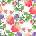 Seamless rose pattern. Vector illustration