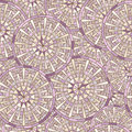 Seamless round mosaic pattern stylized golden daisy vector in pale pink colors Stock Image