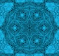 Seamless round ornament in turquoise shades centered
