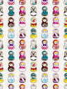 Seamless Russian doll pattern Stock Photos