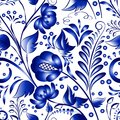 Seamless russian gzhel patterns on a white background vector illustration blue floral pattern in style Royalty Free Stock Photo