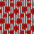 Seamless sample with red flowers on a striped background Royalty Free Stock Photo