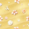 Seamless sand background with flowers dollars and seashells vector illustration eps editable Royalty Free Stock Photography