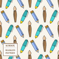 Seamless School or Office Supplies Pattern. Thin line icon. Vect