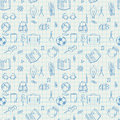 Seamless school pattern doodles on math paper vector eps image Stock Photo