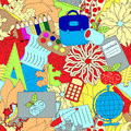 Seamless school pattern. education background. cartoon design Royalty Free Stock Photo