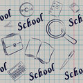 Seamless on a school theme for notebooks, book covers, websites, Royalty Free Stock Photo