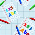Seamless school writing book pattern abstract with pages and pencils drawn with using gradients Stock Photo