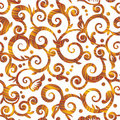 Seamless scrolls and swirls textured floral patter Royalty Free Stock Images