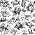 Seamless sea animals pattern. Fish and lobster vector illustration