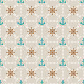 Seamless sea background of anchors and hand wheels Royalty Free Stock Photography