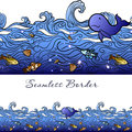 Seamless sea border hand drawn blue water with waves fish shells pearls whale and color iridescent Stock Photos