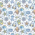 Seamless sea children pattern with the steering wheel, crab, pearl, starfish, shrimp, Aqualung.