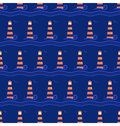 Seamless sea pattern. Lighthouse with light blue wave on blue Royalty Free Stock Photo