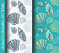 Seamless seashell patterns. Based on hand drawn sketch