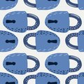 Seamless secret isolated pattern with blue simple key silhouettes. Vintage century elements on white background Royalty Free Stock Photo