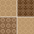 Seamless set four vintage vector backgrounds Stock Image