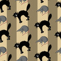 Seamless set with mouse and cat pattern on striped background halloween illustration Stock Images