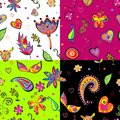 Seamless set multicolored flower pattern. Stock Photo