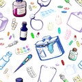 Seamless set of objects symbolizing medicine made in the thumbna Royalty Free Stock Photo