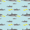 Seamless shark pattern Royalty Free Stock Photo