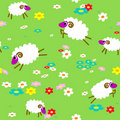 Seamless with sheep in meadow Royalty Free Stock Image