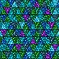 Seamless shiny glitter confetti in green, blue, purple color. Royalty Free Stock Photo