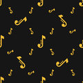 Seamless silhouettes of musical notes pattern over black background. Royalty Free Stock Photo