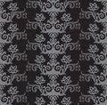 Seamless silver and charcoal victorian style floral wallpaper Royalty Free Stock Photo